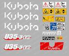 KUBOTA U35-3A2 MINI BAGGER KOMPLETTE AUFKLEBER SATZ MIT SICHERHEIT-WARNZEICHEN
