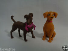 Mattel 2 Barbie or Dollhouse Miniature Brown & Golden Yellow Puppy Dogs