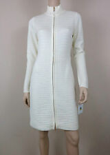 NWT CALVIN KLEIN Sweater Dress Long Sleeve Zip Front Collar Ribbed Ivory M