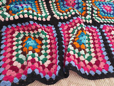 Vtg Hand Crochet Afghan Large Granny Square Afghan Throw Blanket Bright Colors