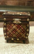 Small Woven Bamboo Hinged Trinket Box brown with handles