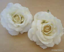 "Two Piece Lot Large 4 1/2"" Cream White Rose Silk Flower Hair Clips,Bridal,Prom"