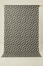 Full Width Scandinavian Fabric Remnant Retro Spotty Charcoal Grey Craft