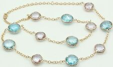"Blue Topaz and Pink Amethyst 20"" Necklace,14K Yellow Gold Chain With Extra Loops"