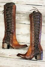 NEW * FREEBIRD by Steven WYATT Tall Lace Up Corset Boots Cognac Free People Sz 6