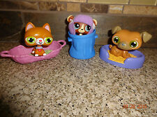 LPS Littlest Pet Shop Lot Magic Motion Cat & Dog #1075 Brown Bear in Hat +