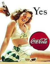 Coca Cola Yes (White Swimsuit) steel fridge magnet    (de)