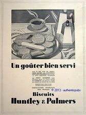 PUBLICITE BISCUITS HUNTLEY & PALMERS PETIT BEURRE GALETTE DE 1929 FRENCH AD PUB