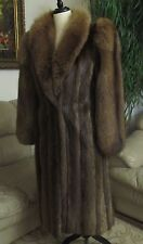 Long Beautiful Women's Beaver Fur Coat with Fox Fur Collar and Sleeves Size M
