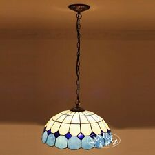 Traditional Tiffany Style Stained Glass Pendant White & Blue Lamp Shade Ceiling