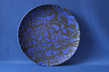 JACQUES MOLIN FRENCH CERAMIC BLUE PATTERNED PLATE 22.5 cms