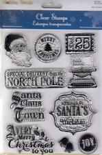 New MULTI CRAFT RUBBER STAMP clear cling VINTAGE HOLIDAY CHRISTMAS FREE US SHIP