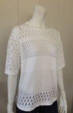 HELMUT LANG  White Sheer Short Sleeve Blouse Women's Size Large