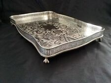 Fine Quality Sheffield Silver On Copper Footed Serpentine Gallery Tray c.1930