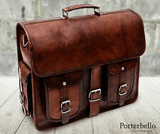 Large Brown Handmade Genuine Leather Satchel Briefcase Laptop Bag (RRP £92.99)