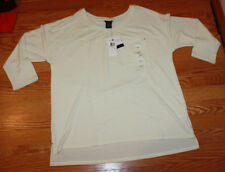 NWT Womens CALVIN KLEIN Pristine Off White 3/4 Sleeve Sweater Size XL X-Large