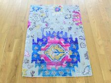 """2'x3'2"""" Colorful Sari Silk with Oxidized Wool Hand Knotted Oriental Rug Sh30255"""