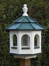 Vinyl Gazebo Bird Feeder Amish Homemade Handmade Handcrafted White & Green med