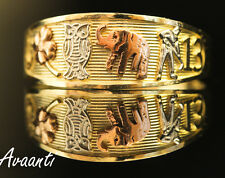 Real 10k Gold Tri Color 13 Elephant Horseshoe Good Luck Lucky Ring Band