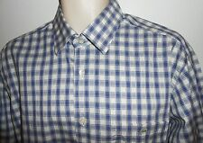 Lacoste 44 XL Shirt Crocodile Blue White Check Button Front Made in France