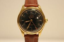 """VINTAGE RARE GOLD PLATED LADIES MECHANICAL WATCH """"ATLANTIC""""21J/RELIEF BLACK DIAL"""