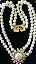 necklace Monet Ivory Pearls White Crystals Pendant Gold choker Double strand