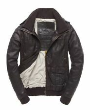 Superdry Brad Bomber Brown Leather Jacket RRP £214.99