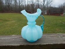"Fenton Glass Blue Overlay Melon Shaped Ruffled Top 8"" Pitcher"