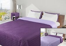 Bedspread Bedcover Cover 220X240 Reversible Violet Purple Lilac Quilted Lightwe