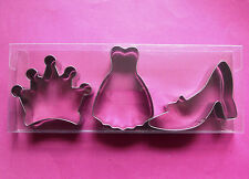 Lady dress, High heels, crown baking cookie metal cutter set