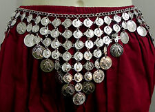 Turkish Tribal Fusion Coins Silver Belt Belly Dance Kuchi Ethnic Vintage Jewelr