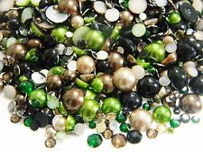 1000 CAMO CAMOUFLAGE MIXED COLORS SIZES FLATBACK RESIN RHINESTONES FAUX PEARLS