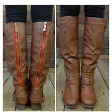New Steve Madden Zoiiee Boots Equestrian Riding Brown Leather Red Zipper  8M