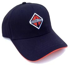 BLACK INTERNATIONAL TRUCKS HAT CAP LOGO CURVED BILL ADJUSTABLE RETRO ORANGE NWT