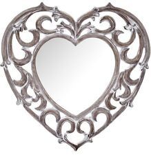 LARGE Rustic Chunky Washed Wood Effect Ornate Heart Wall Mirror NEW Hall Lounge