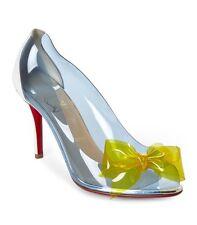 NIB SALE ! CHRISTIAN LOUBOUTIN Blue & Yellow PVC Bow Pumps Size 39 Retail 799$