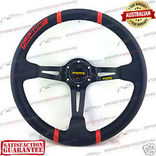 "14"" DEEP DISH DRIFT SPORTS STEERING WHEEL BLACK/RED MOMO 1 Year Warranty"