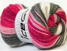 4 PELOTES DE LAINE ICE YARNS DANCING BABY GRIS ROSE DEGRADES