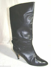PAPPAGALLO SZ 7 BLACK LEATHER TALL HIGH HEEL BOOTS VINTAGE