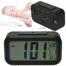 Digital Alarm LED Clock Light Control Backlight Time Calendar Thermometer Snooze