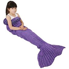 Mermaid Tail Blanket Masall Hand Crochet Knitted Snuggle Warm Sofa, Kids- Purple