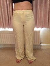 Pale Lemon Yellow Linen Trousers Coast 14 New No Tags Fully Lined