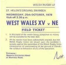 WEST WALES v NEW ZEALAND 25 Oct 1978 RUGBY TICKET at SWANSEA