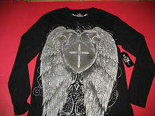 RXO RAW - NEW - BLACK  LONG SLEEVE  T SHIRT - CROSS & ANGEL WINGS - MEN'S LARGE