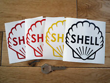 "SHELL Classic Logo Cut Vinyl Outline Petrol Pump STICKER 4"" Race Racing Car Bike"