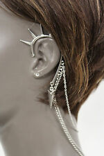 New Women Fashion One Side Earring Long Silver Chains Spikes Cuff Hair Pin Claw