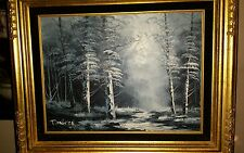 VTG 1960's Signed Bangman Framed  Winter Landscape Oil Painting 23 x 19