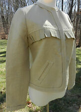 VERONIQUE LEROY Paris Tan LS Blazer with Cover Snaps Front Frayed Trim Sz 38 / 4