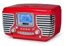 Crosley CR612-RE Corsair Retro AM/FM Radio Dual Alarm Clock CD Player CR-612 RED