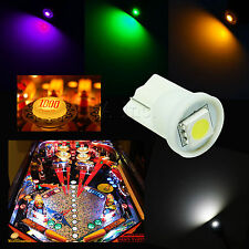 10x #555 T10 1 SMD 5050 LED Pinball Machine Light Bulb Blue AC/ DC 6.3V